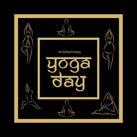 Vector illustration of a background for International Yoga Day. 일러스트