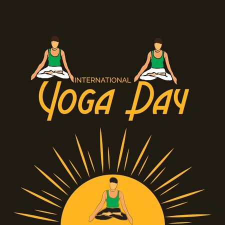 Vector illustration of a background for International Yoga Day. Ilustração