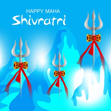 Vector Illustration Of Poster Or Banner Background for Happy Maha Shivratri. Vettoriali