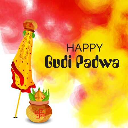 Vector illustration of a Background or Banner for Happy Gudi Padwa.