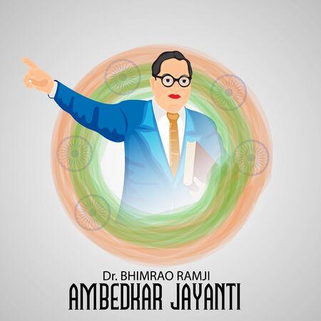Vector illustration of a Background for Dr Bhimrao Ramji Ambedkar Jayanti on 14 April. Ilustração