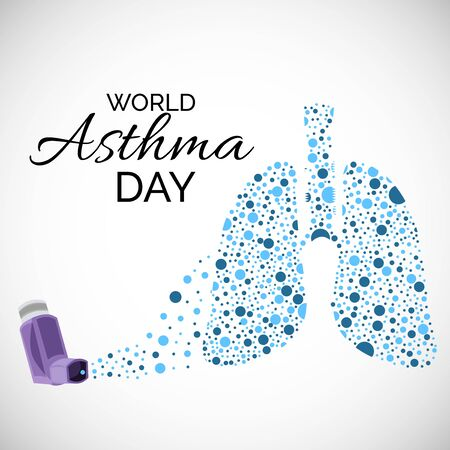 Vector illustration of a background or poster for World Asthma Day.