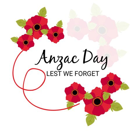 Vector illustration of a Background for Anzac Day with poppies and text Lest we forget. Illusztráció