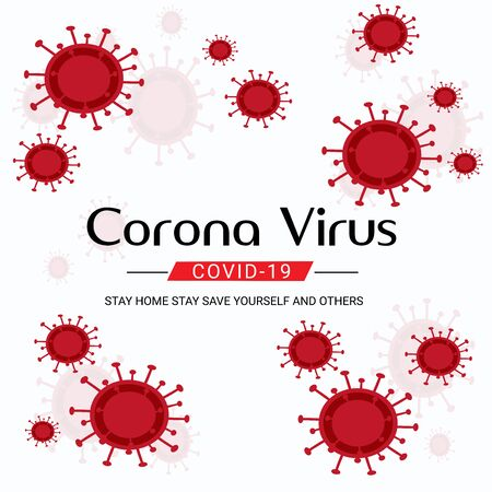 Vector illustration of a Background for Avoid Corona Virus Disease. COVID-2019.Save to Earth for Corona Virus Disease. Vetores