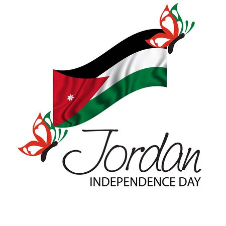 Vector  illustration of a background a poster for Jordan Independence Day.