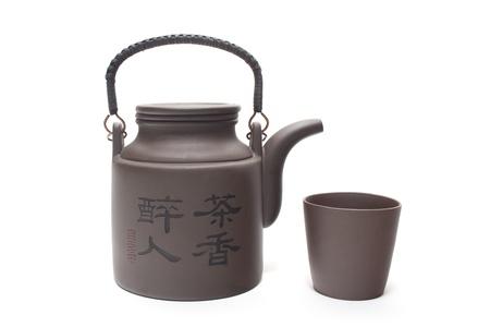 chinese tea pot: Tetera china con la taza Foto de archivo
