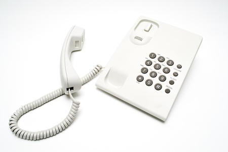 white cabled telephone Stock Photo - 21527340