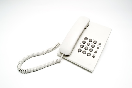 white cabled telephone Stock Photo - 21527341