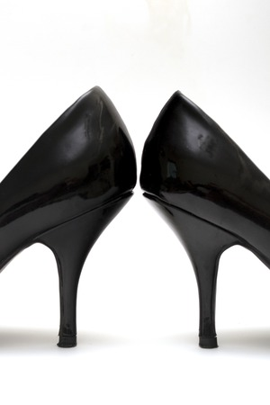 stilleto: Detail of a pair black ladies high heels