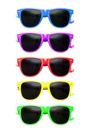 many coloured: Graphic image of many coloured sunglasses on a white background Stock Photo