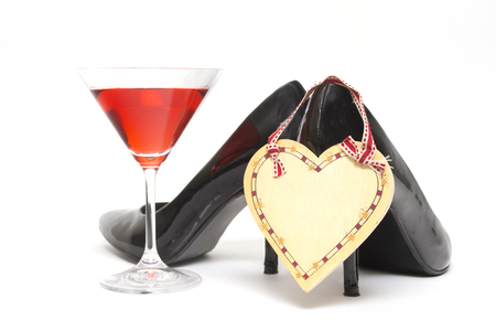 girls night out: Girls night out concept with shoes, drink and lipstick