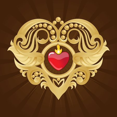 Gold heart and Banner on Red Halftone Stock Photo - 11992112