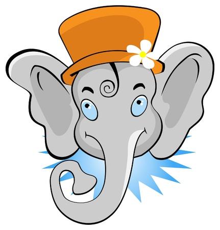 vector illustration of funny cartoon elephant illustration