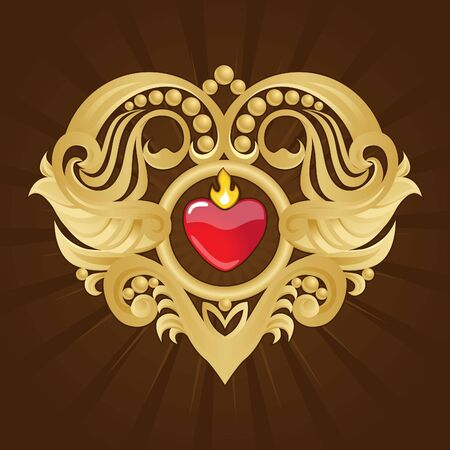 Golden Heart and Banner on Red Halftone Stock Photo - 12540996