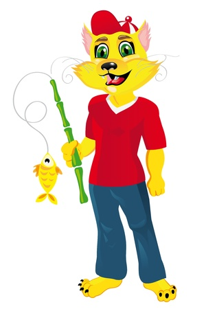 funny cat: Cat fisherman with a fish  Illustration