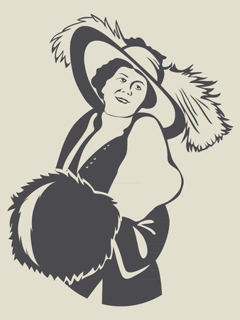 Vintage fashion retro lady with muff Vector