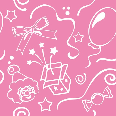 Girl birthdays seamless background Vector