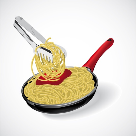 Espaguetis italianos de pasta en el sartén vectorial