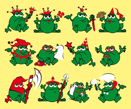 frog queen: Twelve royalty cartoon frogs  Print for a T-shirt