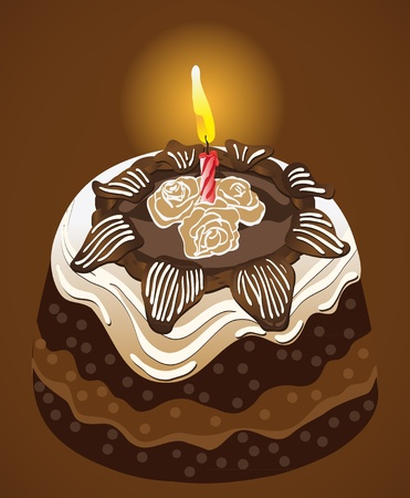 broun: Birthday party chocolate cake with candle  Vector Illustration