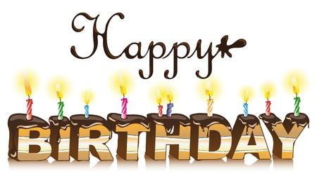 Happy birthday inscription  Maked from cake Stock Vector - 12813446