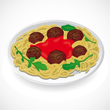 Spaghetti and meatballs with on a plate  Vector Illustration