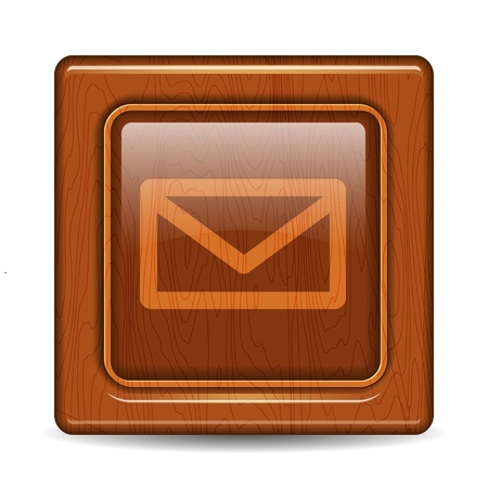 Mail wooden button Vector