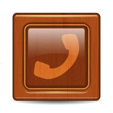 broun: Wooben telephone button
