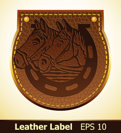 Label from leather with horses Vector