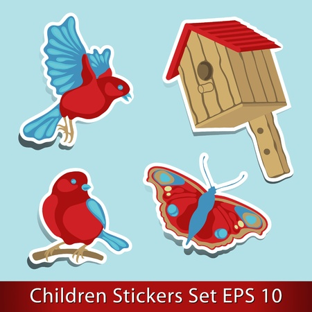 Birdhouse with two birds and butterfly  Sticker Vector