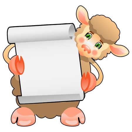 woolly: Cute Sheep Lamb wit a board Illustration
