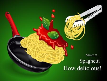 plato pasta: Espaguetis con salsa y bas�licas