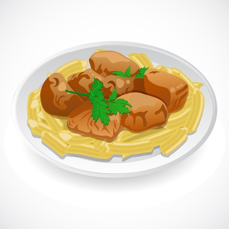 food preparation: Spaghetti with meat  Vector