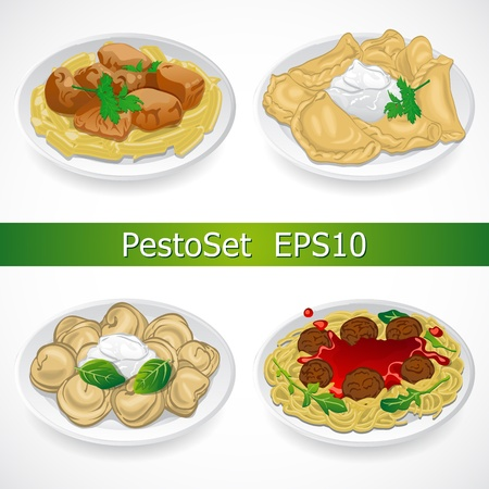 Traditional  national dishes  Set Vector