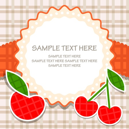 Ornamental vector frame with apple and cherry Vector