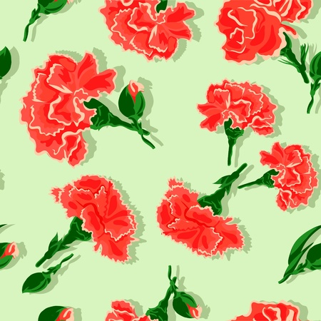 Seamless Carnations on green background