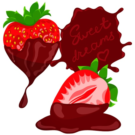 Strawberries wit chocolate  Vector Illustration
