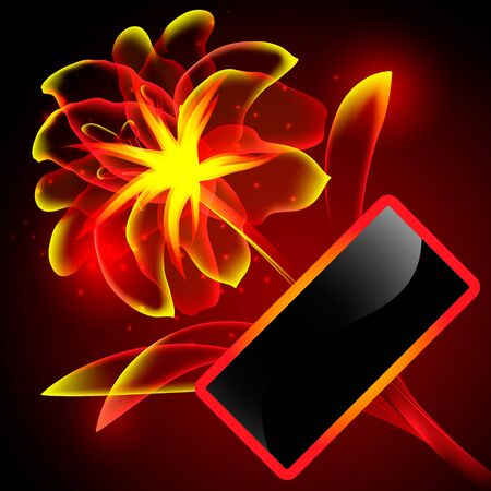 Flame flower with frame Stock Vector - 13662692