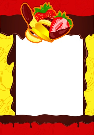 Banana, Strawberries on chocolate  Background Vector