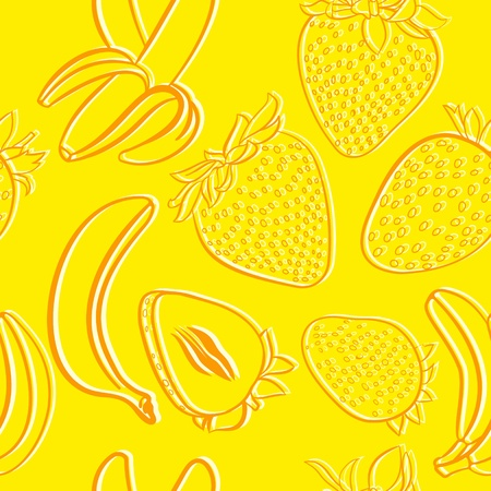 Strawberry and banana seamless pattern Vector