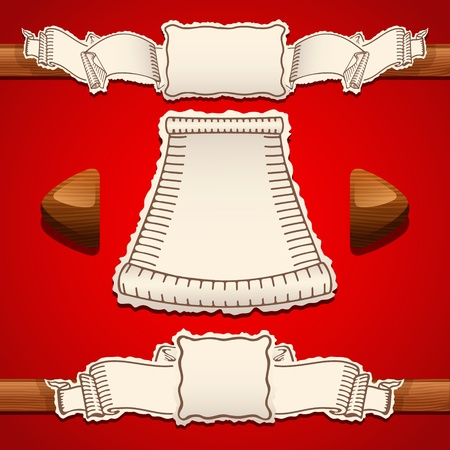 bottons: Scrolls Vector Illustration on a red backgound