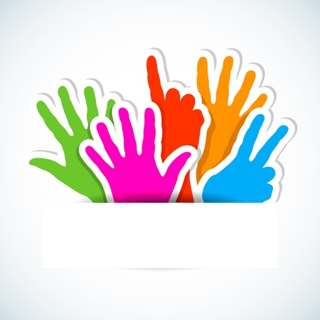 Paper stickers of raised hands  Illustration