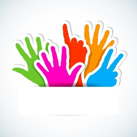 participacion: Pegatinas de papel de manos levantadas