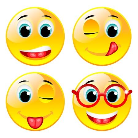 winking: Sorridente quattro palle vettore