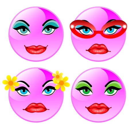 glasse: Smiling four vector balls  Pink girls Illustration