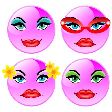Sonriendo cuatro bolas de vectores ni�as de color rosa Vectores
