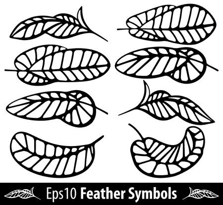 poet: Feather back symbol  set  Vector Illustration