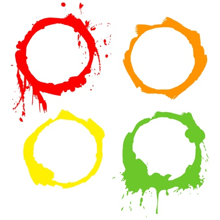 paint drips: Grunge Background ink circles  Vector frames Illustration