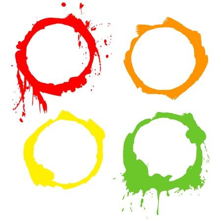blutspritzer: Grunge Hintergrund Tinte Kreisen Vektor-Frames Illustration