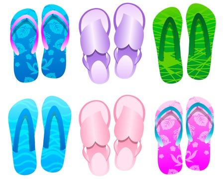 Flip flops Summer Icon Set Vector